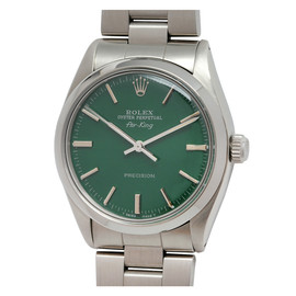 ROLEX - Stainless Steel Air-King Wristwatch with custom Hunter Green Dial c. 1984