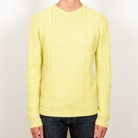 CHAUNCEY - Cashmere yellow cables crew neck sweater