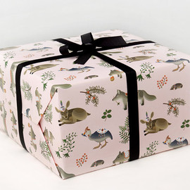 Clap Clap - Forest Animals Wrapping Paper - Pink -