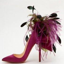 Christian Louboutin - Whimsical Louboutin Ribbon and Feather stiletto.