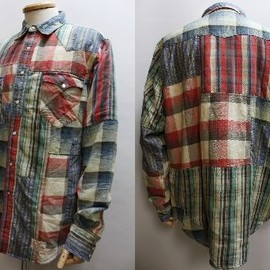 """RRL - """"Limited ed. of 97"""" patchwork western shirt"""