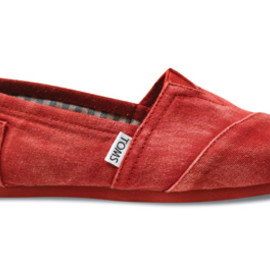 TOMS - Red Stone-Wash Twill Women's Classics