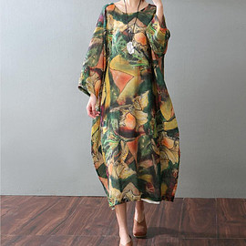 Women oversized bat sleeve dress large size black dress white dress