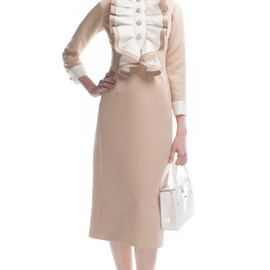 MARC JACOBS - Satin Gabardine Dress With Ruffled Bib