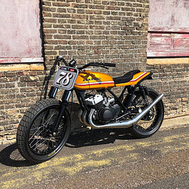 "Steve Wadsworth - ""Candy Gold"" Kawasaki 350 flatracker"