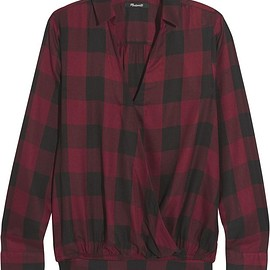 Madewell - Wrap-effect checked voile shirt