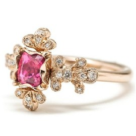 AbHeri - Pink spinel Diamond Ring