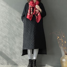 Loose winter Long Maxi Dress Cotton and linen long pullover Plus velvet long robe