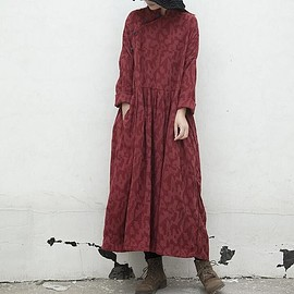 wine red loose dress - Linen dress in wine red loose dress large size dress long