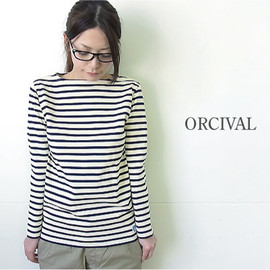 ORCIVAL - ボーダーボートネックロングスリーブカットソー