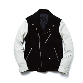 uniform experiment - FABRIC MIX RIDERS BLOUSON/NAVY x WHITE (WHITE LEATHER)