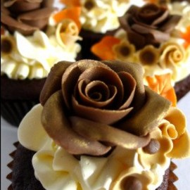 chocolate rose cupcakes....
