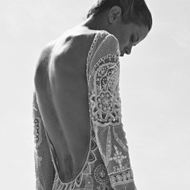 White lace back open dress