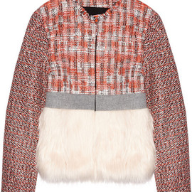 MSGM - Faux fur-paneled tweed jacket
