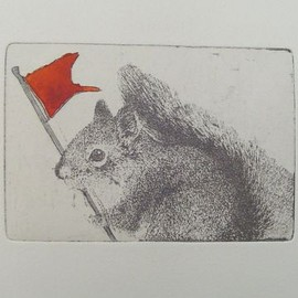 Fleurografie - a squirrel with flag