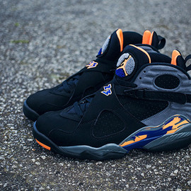 NIKE - Air Jordan 8 Retro Black/Bright Citrus-Cool Grey-Deep Royal