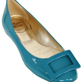 Roger Vivier - Gommette Patent Leather Ballerina Flats in Blue (turquoise)