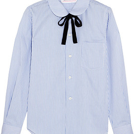 Comme des Garçons GIRL - Pussy-bow striped cotton-poplin shirt