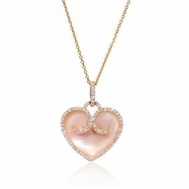 Firenze Jewels - Diamond and Pink Mother of Pearl 18k Rose Gold Heart Pendant - ダイヤモンドゴールドハートペンダント