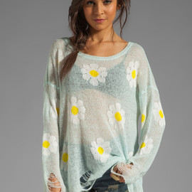 Wildfox Couture - White Label Daisy Fest Lennon Sweater in Mall Fountain from REVOLVEclothing.com