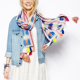 ASOS - : Aztec Scarf With Poms at ASOS