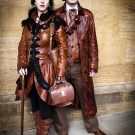 Impero London - Steampunk Victorian Burlesque Costume Bespoke Leather Dress Coat
