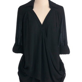 Poetry and Prose Top - Black, Solid, Casual, Long Sleeve, Pockets, Mid-length
