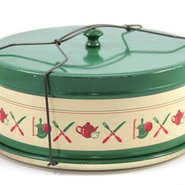 sweet camp - 1940s Metal Pie Carrier Cake Carrier with Wire Handle,