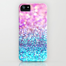 Pastel sparkle- photograph of pink and turquoise glitter iPhone Case