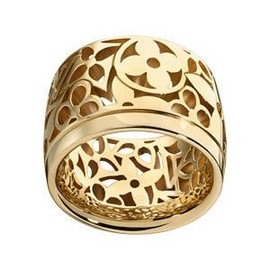 LOUIS VUITTON - Monogram Résille large band ring, yellow gold LV