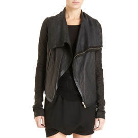 RICK OWENS - Double Layer High Collar Leather Jacket