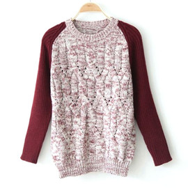 fashion - [grxjy560406]Sweet Fresh Mixing Color Braid Knit Sweater