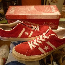 """converse - 「<used>70's converse SUEDE LEATHER ALLSTAR OX red""""made in USA"""" W/BOX size:US11/h(30cm) 68000yen」完売"""
