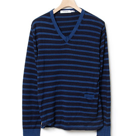 nonnative - AGENT SWEATER - COTTON INDIGO BORDER