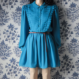 persephonevintage - turquoise pleated peter pan collar dress / mini tea dress / m