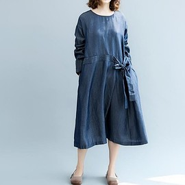 blue maxi dress - Womens maxi dress,Loose dress, doll cotton dress, Casual dress, blue maxi dress, long sleeves
