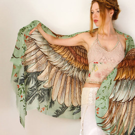 Shovava - Cotton Green Women scarf, Hand painted Wings and feathers, stunning unique and useful, perfect gift