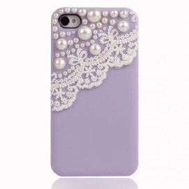 alanatt - Lace with Pearl iPhone 4 / 4S Case-light purple
