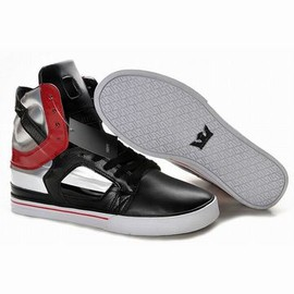Supra Skytop II High Tops Black/Silver/Red Men's - supra kytop ii black leather silver and red