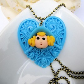 Luulla - Cute large blue heart necklace, girly, cute jewelry