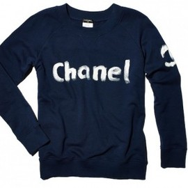 CHANEL - navy Christmas 2013 Editon Chanel limited edition sweatshirt hand painted by Karl Lagerfeld