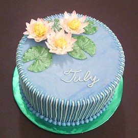 ninucake - Birth Flower Cake For July ~Water-lily~