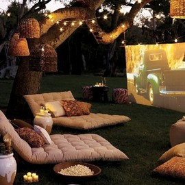 a mini outdoor movie scene