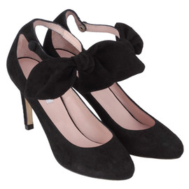 Carven - VELVET LEATHER HEER BOW SHOES