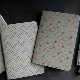 Pistachio Press - Letterpress Notebooks, cross stitch, set of 3