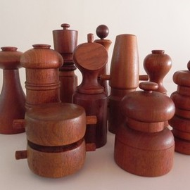 DANSK - DANSK Teak Pepper mill Peppermill JHQ IHO Quistgaard Denmark SET of 10 Vintage