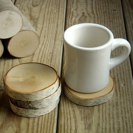 Single Natural White Birch Wood Coaster