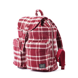 "HEAD PORTER - ""LESSON"" RUCKSACK (S) BURGUNDY"