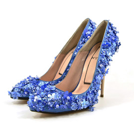Floral Leather and Snakeskin Sandals
