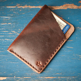 One Star Leather Goods - The Minimalist   card wallet, hand stitched Horween leather - brown/brown